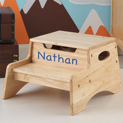 Natural Wood Personalized Step and Store Stool