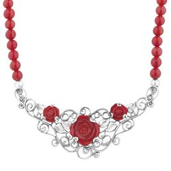 American West Red Coral Rose Statement Necklace