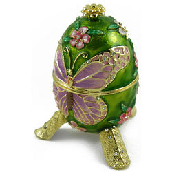 Lavender Jeweled Butterfly Musical Faberge Egg