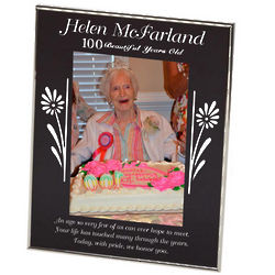 Personalized 100th Birthday Floral Frame