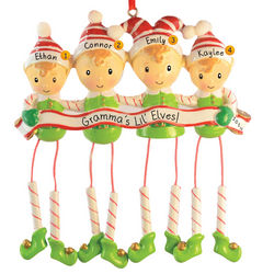 Four Little Elves Dangling Legs Grandchildren Christmas Ornament