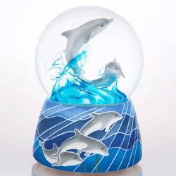 Frolicking Dolphins Musical Water Globe