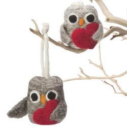 Wool Felt Love Owl Ornaments