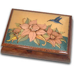 Hummingbird and Flowers Musical Jewelry Box