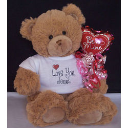 Personalized Valentine Teddy Bear with Be Mine Balloon