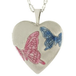 Personalized Sterling Silver Butterfly Locket Necklace