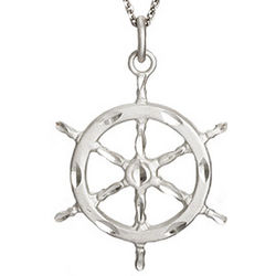 Sterling Silver Nautical Ships Wheel Necklace