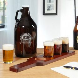 Personalized Mark of Excellence Beer Flight and Growler Set