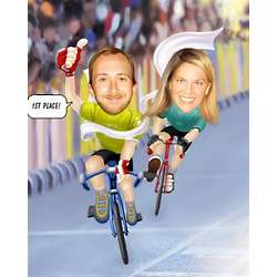 Racing Bicycle Couple Caricature Print from Photos