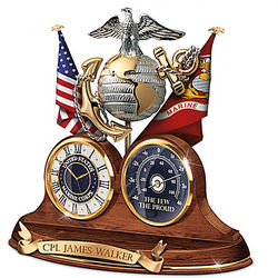 Personalized USMC Thermometer and Desk Clock