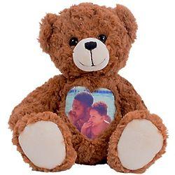"""Custom Photo Tummy Heart 12"""" Cuddle Cub Teddy Bear"""