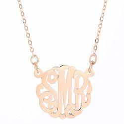 Personalized Mini Monogram Rose Gold Necklace