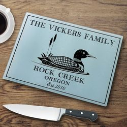 Loon Personalized Glass Cutting Board