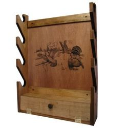 Gun Rack with Turkey Imprint and Storage Compartment