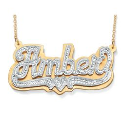 Tutone 18k Gold over Sterling Silver Heart Nameplate Necklace
