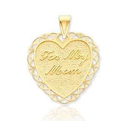 14K Yellow Gold For My Mom Heart Pendant
