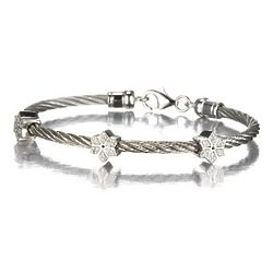Stackable Stainless Cable Bracelet with Three Diamond Snowflakes