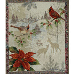 Personalized Christmas Cardinals Tapestry Throw