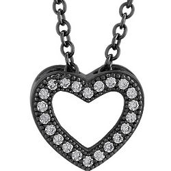 Black Rhodium Plated Sterling Silver Open Heart Pendant