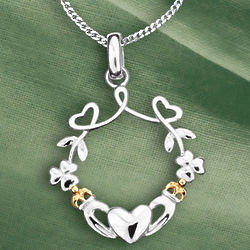 Hearts, Shamrocks and Claddagh Silver Necklace