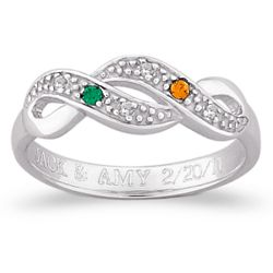 Sterling Silver Couple's Birthstone Diamond Swirl Engraved Ring