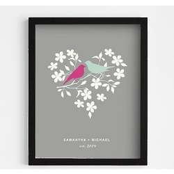 Black Framed Love Birds Art Print
