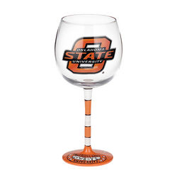 Oklahoma State University Handpainted Wine Glasses