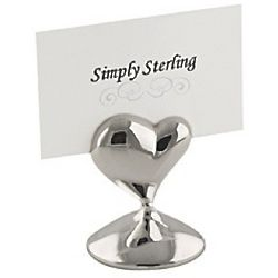 Silver Heart Placecard Holders