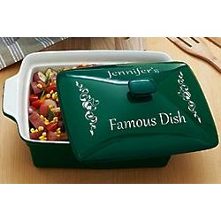 Green Personalized Rectangle Casserole Dish