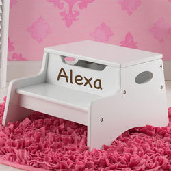 White Personalized Step and Store Stool