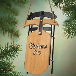 Personalized Wooden Sled Ornament