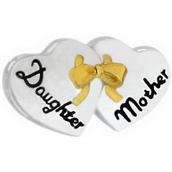 Mother Daughter Hearts Charm Bead
