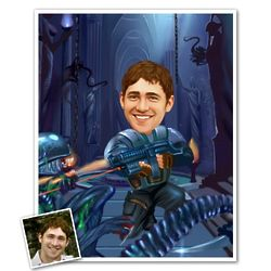 Aliens Fighter Caricature from Photo Print
