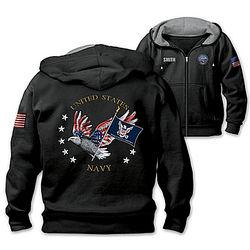 Men's Navy Pride Embroidered Design Fleece Hoodie Jacket