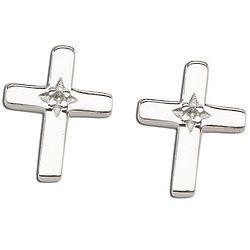 10mm Sterling Silver Cross Earrings with Diamond Accent