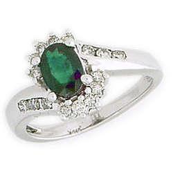 Emerald and Diamond Flower Twist Ring