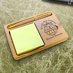 Personalized Architect Wooden Notepad and Pen Holder