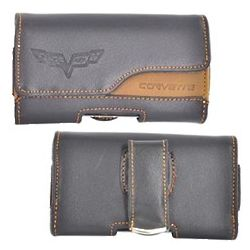 Corvette Horizontal Cell Phone Leather Pouch with Belt Clip
