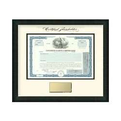 Framed Lockheed Martin Stock with Engraved Plaque