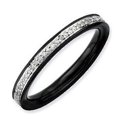 Black Plated Stackable Eternity Diamond Ring