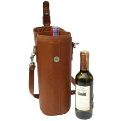 Single Leather Wine Carrier