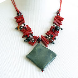 Single Strand Red Coral and Garnet Necklace