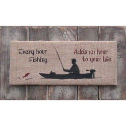 Every Hour Fishing Burlap Sign