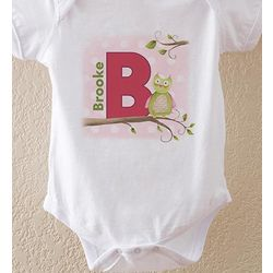 Owl About You Personalized Baby Girl Bodysuit
