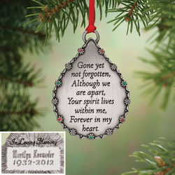 Personalized Pewter Tone Memorial Ornament