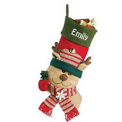 Personalized Big Face Reindeer Jingle Bell Stocking