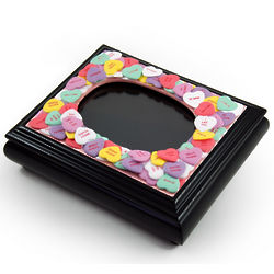 Sweetheart Valentine Candy Covered Black Picture Frame Music Box