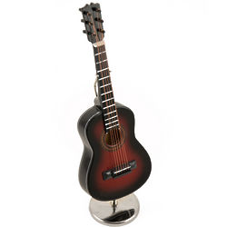 Miniature Replica Dark Steel-String Acoustic Guitar Music Box