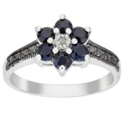 Sterling Silver Black Sapphire and Diamond Accent Flower Ring