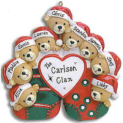 Family of Bears Personalized Christmas Stocking Ornament